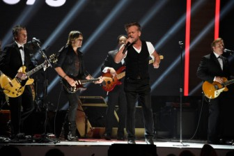 "RED NOSE DAY 2 -- Season: 1 -- Pictured: (l-r) Keith Urban and John Mellencamp perform at NBC's ""Red Nose Day"" Charity Event at the Hammerstein Ballroom in New York, NY on May 21, 2015 -- (Photo by: David Giesbrecht/NBC)"
